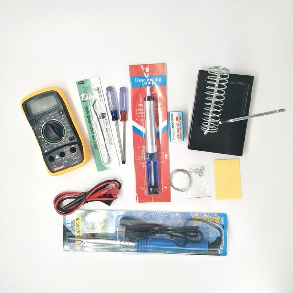 10in1 110V 60W Soldering Iron Tools Set with Solder Sucker & Stand + Multimeter