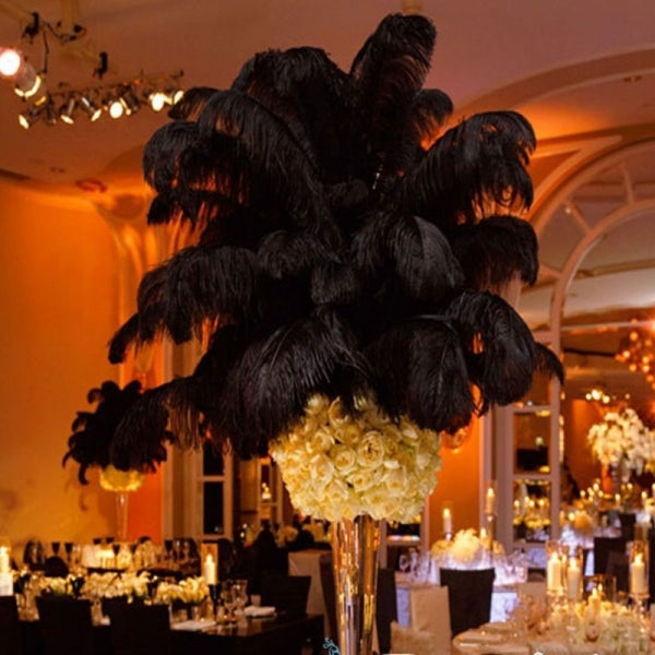 10pcs 16-18inch Natural Ostrich Feathers Party Wedding Decoration Black