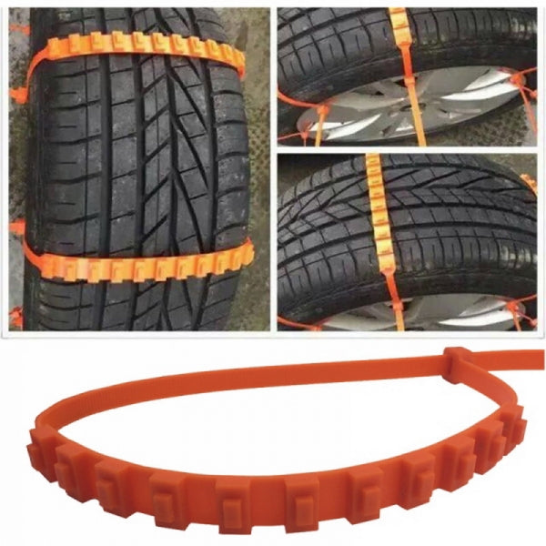 10pcs/20Pcs Universal Anti-skid Tire Wheel Snow Chains for Cars No damage to Wheel Hub Suitable for SUV Truck Orange Red
