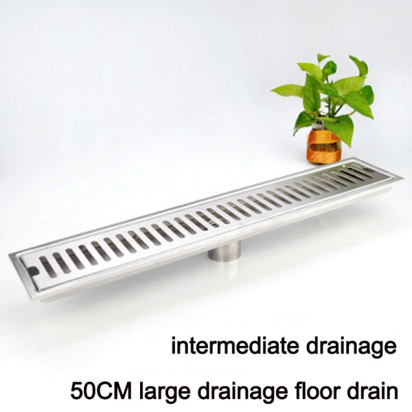 10x50CM Brushed 304 Stainless Steel Rectangular Thick Large Shower Floor Drain with Removal Cover - Middle Drainage
