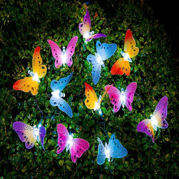 12/20 Led Solar Powered Butterfly Fiber Optic Fairy String Lights Waterproof Outdoor Garden Holiday Decoration Lights