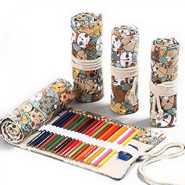 12 Holes Canvas Pencil Roll Bag Big Storage Pencil Case Art Pen Stationery Pouch - Cat Pattern