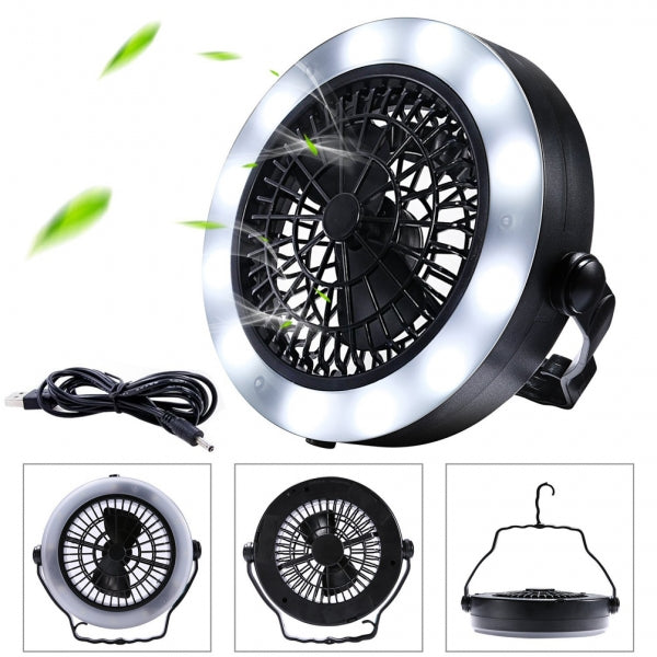 12 LED Portable USB Powered or Battery Operated Camping Fan Light with Hanging Hook