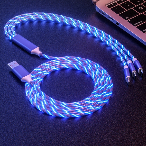 1.2M 3-in-1 Magic LED Glow Flowing Fast Charging Cable With Micro USB Apple Lightning Type C Plugs for Android Phones Samsung iPhone iPad Smartphones - Blue/Red/Green/Colorful