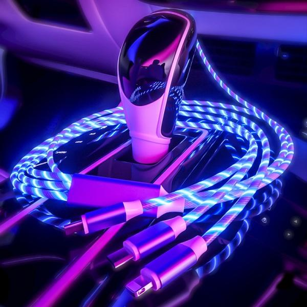 Double USB Car Cigarette Charger Black &1.2M 3-in-1 Magic LED Glow Flowing Fast Charging Cable