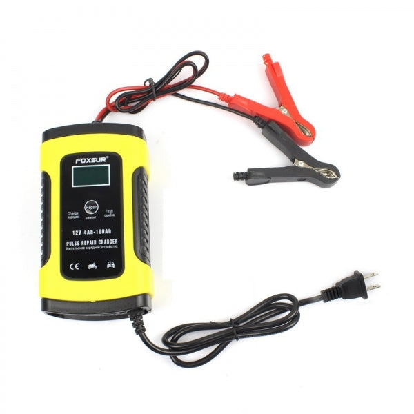 12V 5A Pulse Repair Charger Battery Charger LCD Sceen Motorcycle Lead Acid Battery Yellow - US Plug