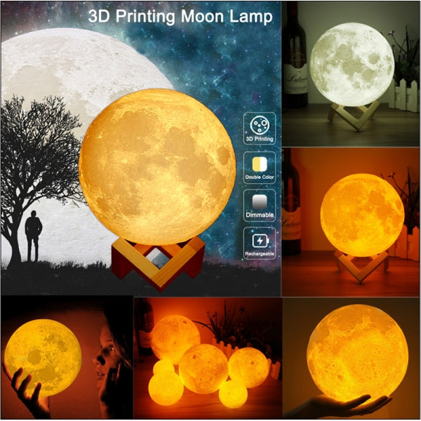 4.72inch Touch Sensor 3D Printing Moon Lamp USB LED Night Light Color Changing
