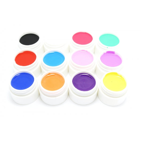 12pcs 12 Colors Pure Color Nail Art UV Gel Builder Polish Set