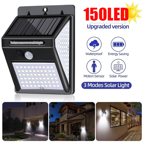 150LED Solar Light Outdoor Solar Lamp PIR Motion Sensor Wall Light Waterproof Porch Lights Solar Powered Garden Street Light