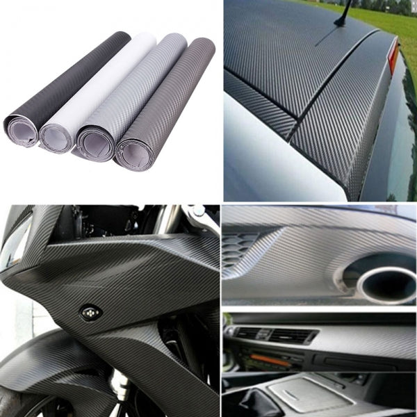 152 x 30CM 3D Carbon Fiber Vinyl Wrap Film Car Sticker - Black