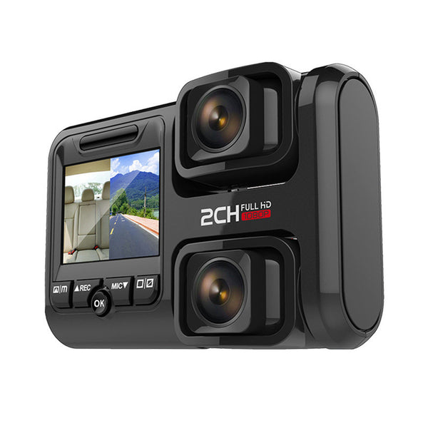 Dual-lens full HD 1080P high-definition seamless loop recording equipped with Sony 323 imaging sensor front and rear night vision cameras dual-record HD driving recorder