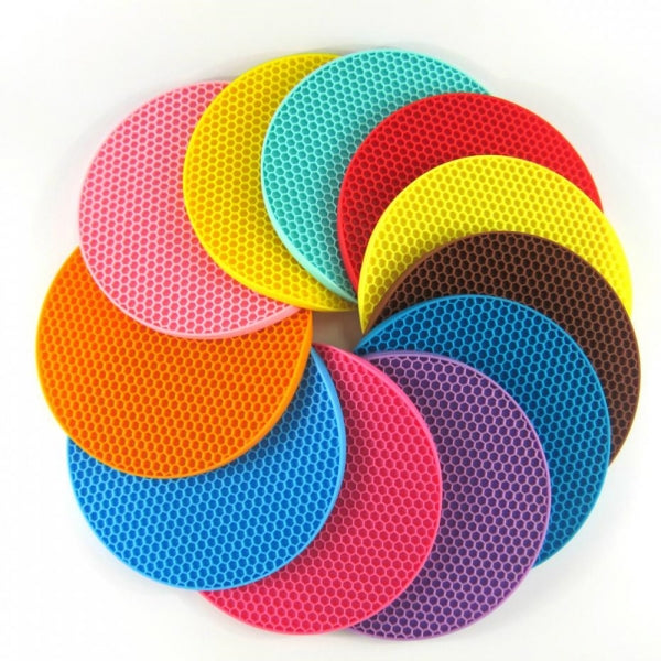 18cm Round Silicone Non-slip Heat Resistant Mat Coaster Cushion Placemat Pot Holder