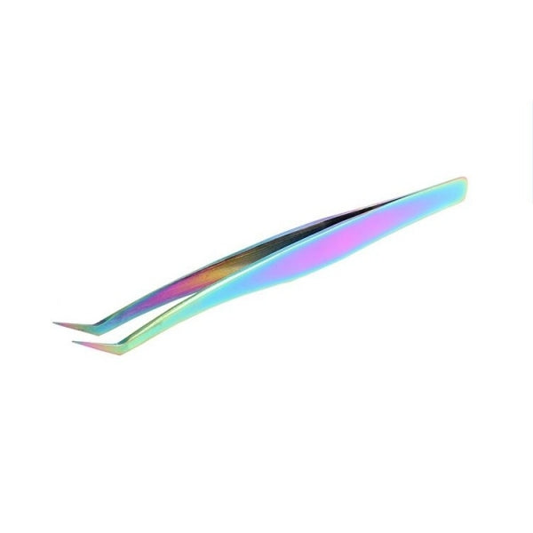1PC Professional Stainless Steel Curved Tip Tweezer Nipper for Eyelash Extensions - Rainbow Color