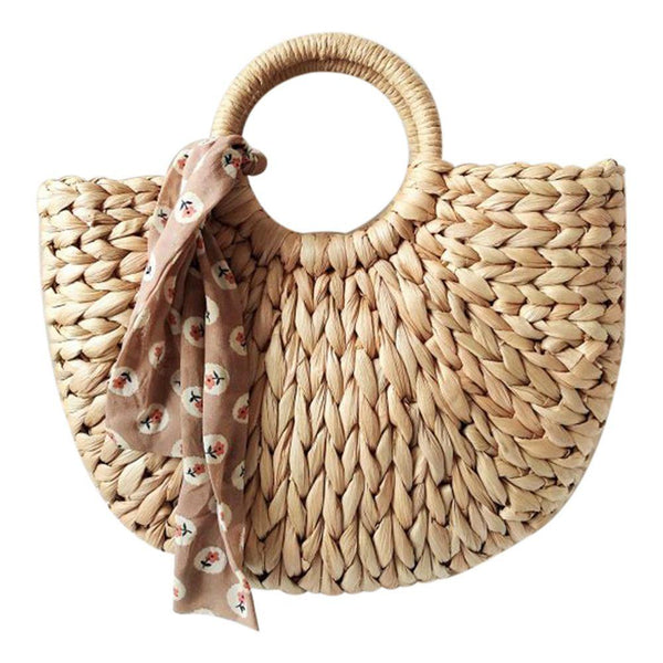 Handmade Fashion Moon Shaped Women's Summer Straw Bag (without Ribbon) - stringsmall