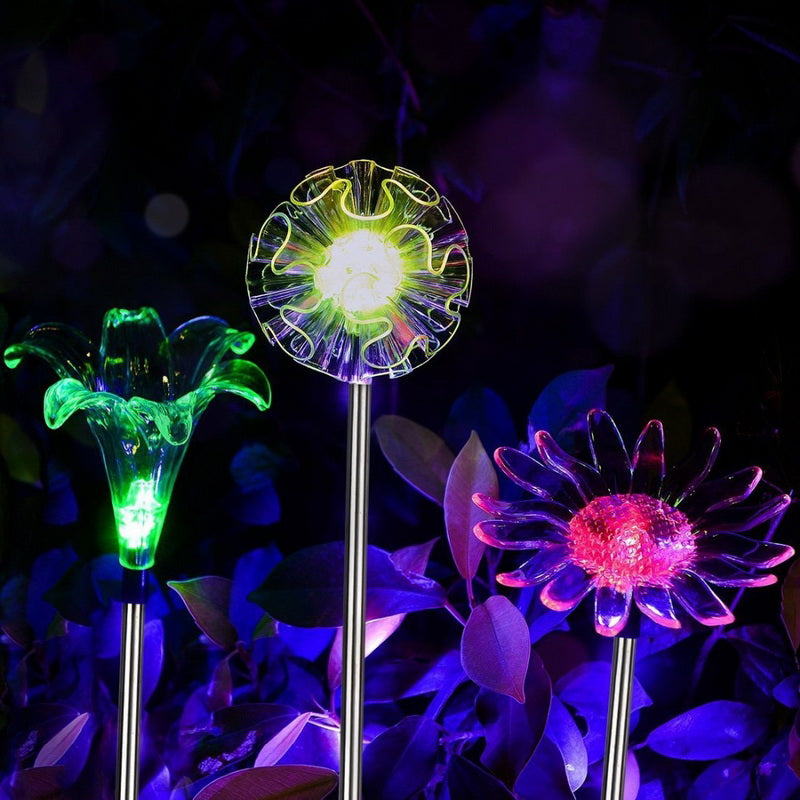 Solar Powered Dandelion Lily Sunflower Flower Stake Lights For Garden Landscape Decor