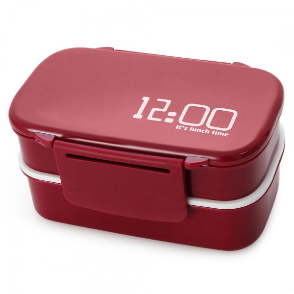 2 Tiers Bento Lunch Box 1410mL Japan Style Plastic Food Container Wine Red
