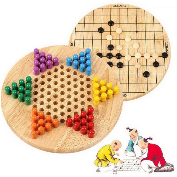 2 in 1 Chinese Checkers (Halma) & Gobang (Five in a Row) Wooden Board Game Intellectual Game for Family Educational Gift for  Children