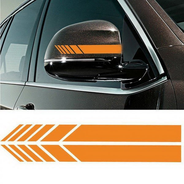 2 pcs Car Rear View Mirror Cover Stickers Stripe Decal Simple Emblem KK for Mercedes - Yellow