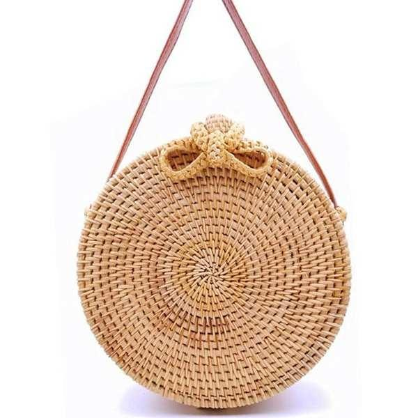 2019 Handwoven Fashion Round Rattan Crossbody Bag Bow-knot Bag - stringsmall