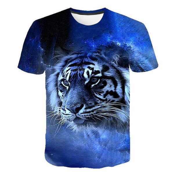 Casual Hip-hop 3D Printing Animal/Anime Sleeve Round Neck T-shirt 3D Pattern Hip-hop Personality T-shirt for Men and Women