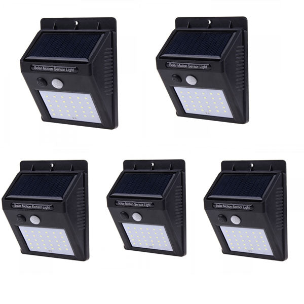 5Pcs 30 LED Solar Motion Sensor Outdoor Garden Wall Light