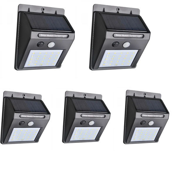 5Pcs Solar Power 25 LED PIR Motion Sensor Light Garden Outdoor Security Wall Light