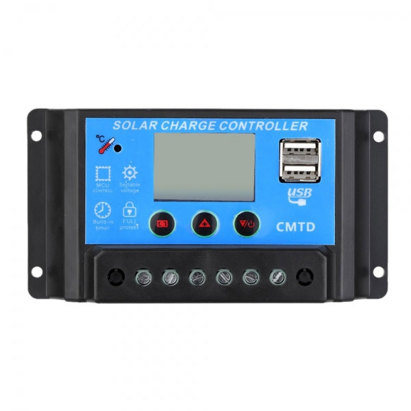 20A 12V 24V Solar LCD Charge Regulator Dual USB Port Charger Controller