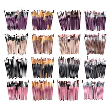 20pcs Professional Makeup Brushes Set Brush Kit Cosmetic Powder Blsuh Foundation Synthetic Hair Golden & Black