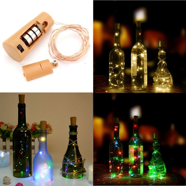 2M 20 LED Cork Bottle Stopper Glass Wine bottle Copper Wire Light String Warm White