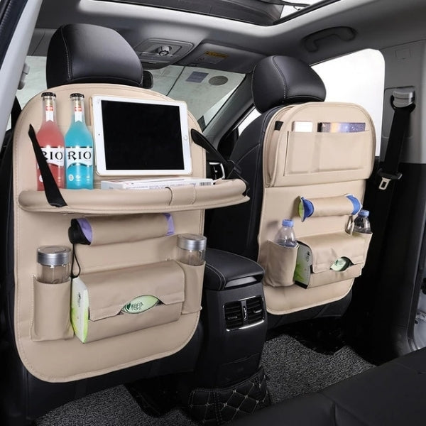 2 pcs Beige Car Seat Back Organizer PU Leather Multifunctional Storage Bag Tray Pouch Wine Red Car Seat Storage Bag