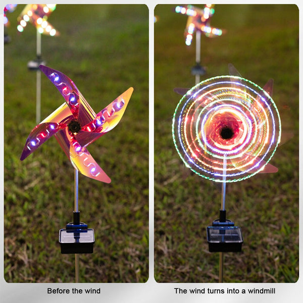 2pcs Colorful Outdoor Solar Ground Light Waterproof Windmill Lamp Solar Powered Garden Lawn Lamp Windmill Decorative Lights