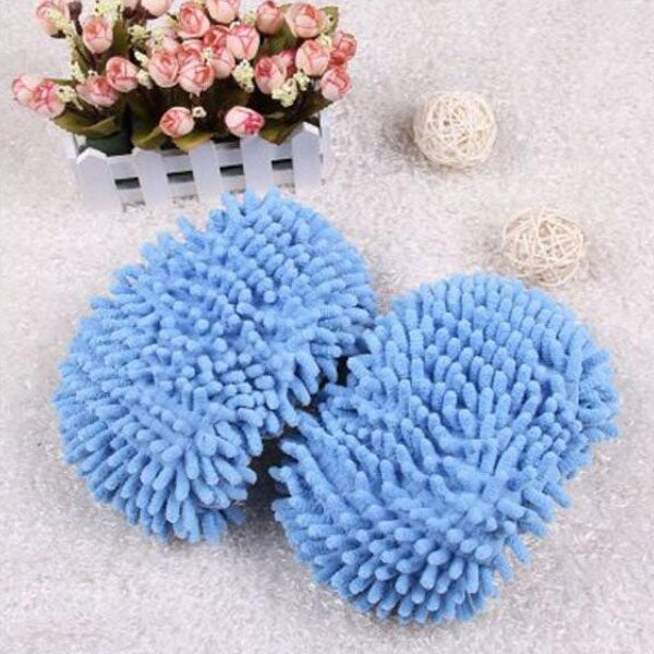 2pcs Washable Chenille Mop Shoes Mopheads for Floor Dust Cleaning Blue