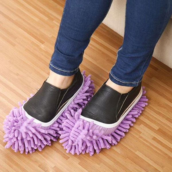 2pcs Washable Chenille Mop Shoes Mopheads for Floor Dust Cleaning Purple