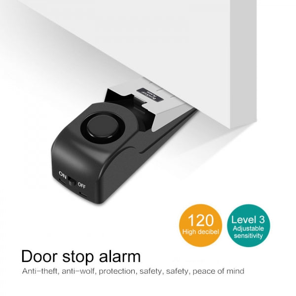 3 Sensitivity Adjustable 120dB Treble Door Resistance Burglar Alarm Door Seam Safety Alarm for Home Hotel Travel