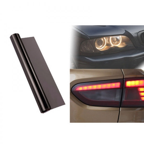 30 x 100cm Car Light Tint Film Sticker Decal Wrap for Headlight Fog Light Tail Light - Light Black