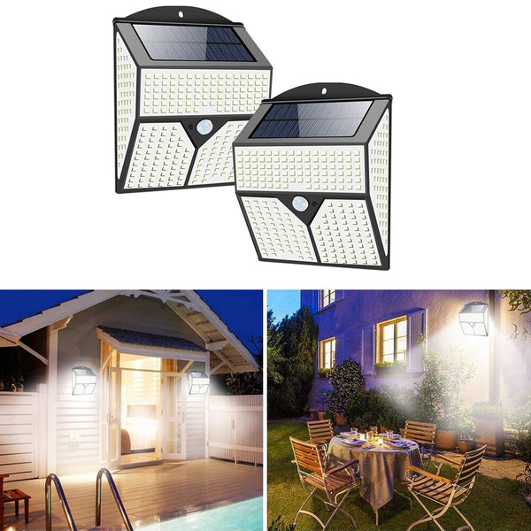 318/436 LED Solar Powered Lights Outdoor Street Wall Security Bright PIR Motion Sensor Lamp for Garage Garden Stairs Decor