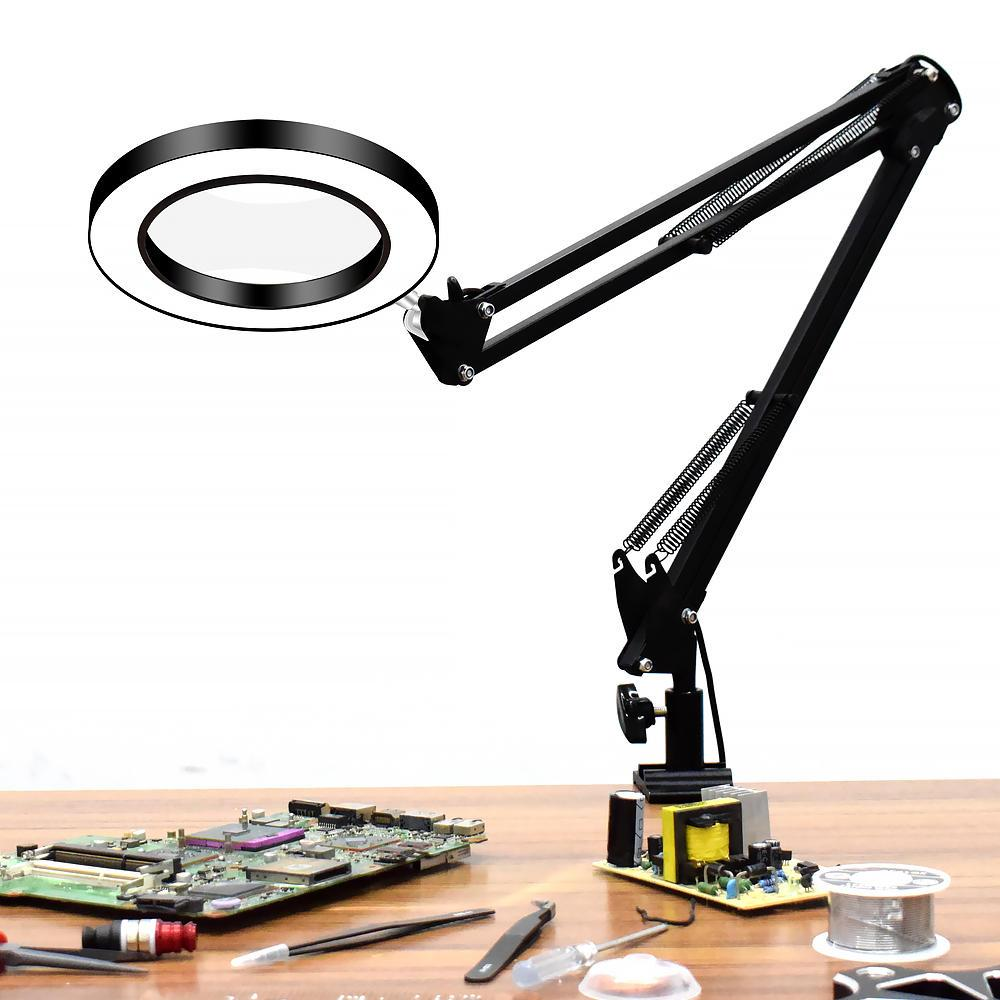 Flexible Desk Magnifier 5X USB LED Magnifying Glass Illuminated Magnifier Lamp Loupe Reading Rework Soldering Magnifier