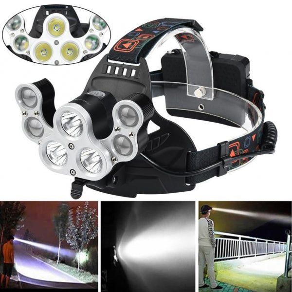 35000LM 7 LED XM-L T6 4 Modes Powerful Long Shot Adjustable Headlamp Travel Head Torch for Hiking / Fishing / Camping / Outdoors / Night Riding / Running