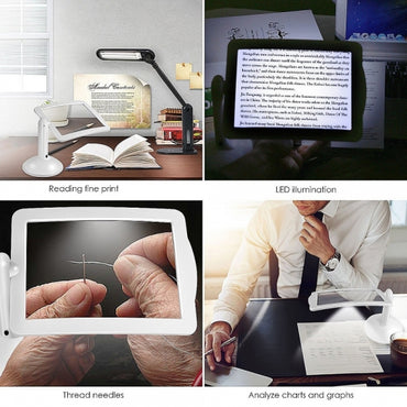 360 Degree Rotation 3X Magnifying Hands-free Reading Magnifier Desktop Light Table Lamp