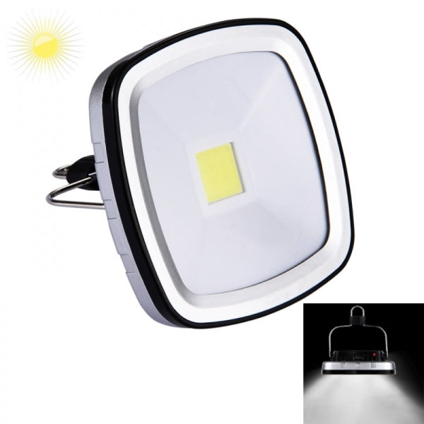3W 270LM COB Portable Solar Light USB Rechargeable Camping Tent Light Emergency Lamp - Black