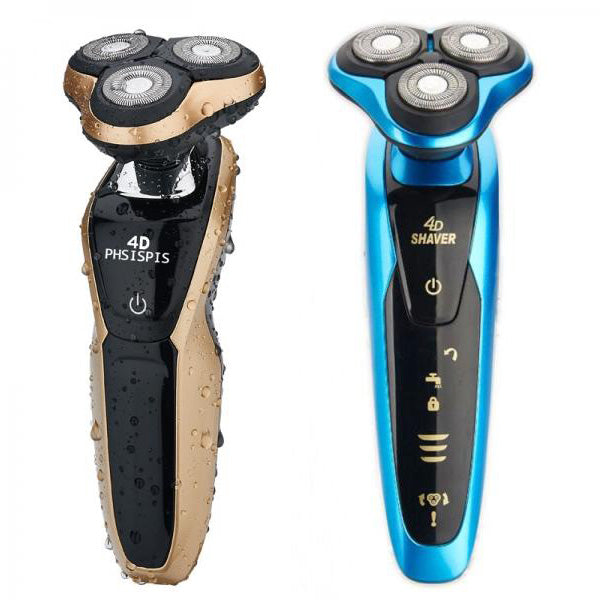 4D Floating Head IPX7 Electric Washable Shaver Razor Blue/Golden US Plug/EU Plug