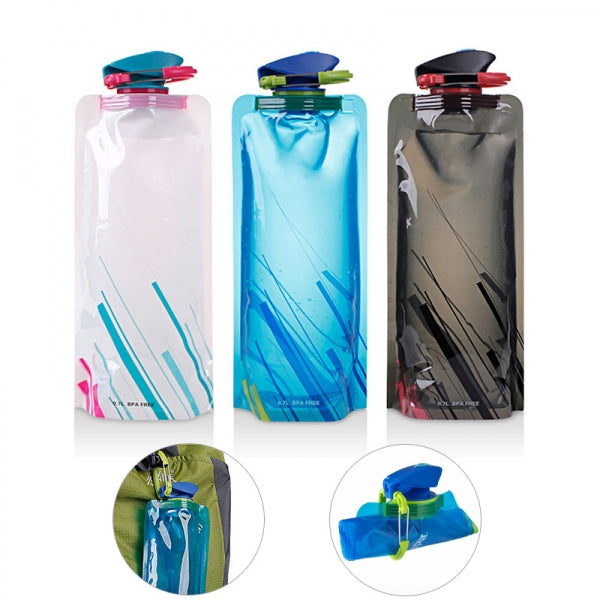 3pcs 0.7L Reusable Portable Collapsible Water Bottle Kettle with Clip for Biking Hiking Travel - Color Random