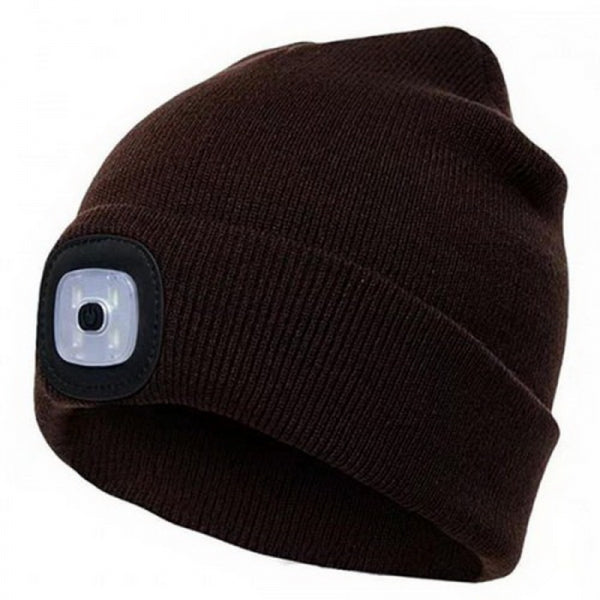 4 LED Light 3 Brightness Modes Warm Shining Cap Maintenance Climbing Night Walk Fishing Winter Hat - Brown