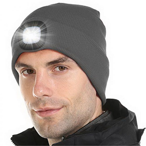 4 LED Light 3 Brightness Modes Warm Shining Cap Maintenance Climbing Night Walk Fishing Winter Hat - Gray