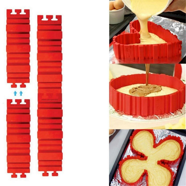 4 Pcs Silicone Magic Cake Mold DIY Baking Square Rectangular Heart Shape Cake Mould