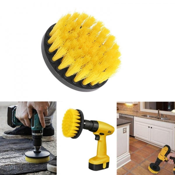 4 inch  Electric Floor Cleaning Brush Drill Power Tool for Leather Plastic Wooden Furniture Car Interiors Cleaning Power - Yellow