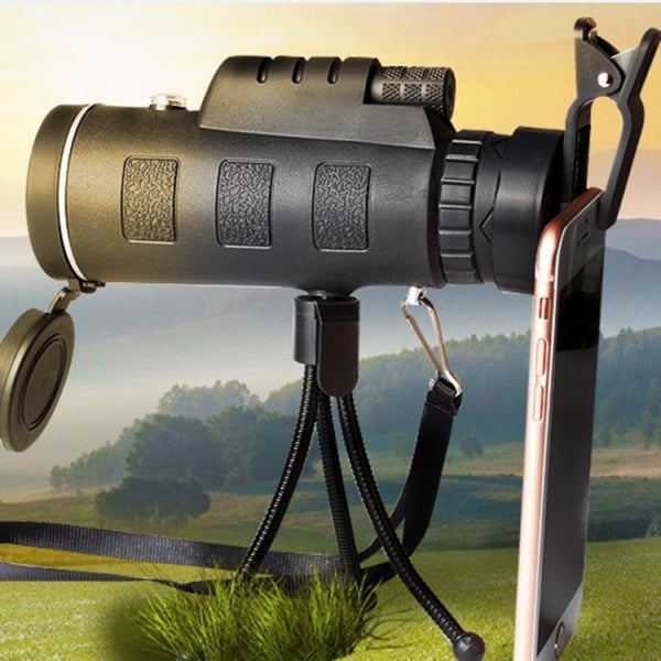 40X60 Rotatable Head HD Optical Monocular Telescope w/ Compass Clip Tripod