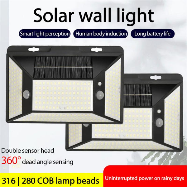 1PCS/2PCS 316 LED Solar Light Outdoor Solar Lamp PIR Motion Sensor Wall Light Waterproof Solar Sunlight Powered Garden Street Light