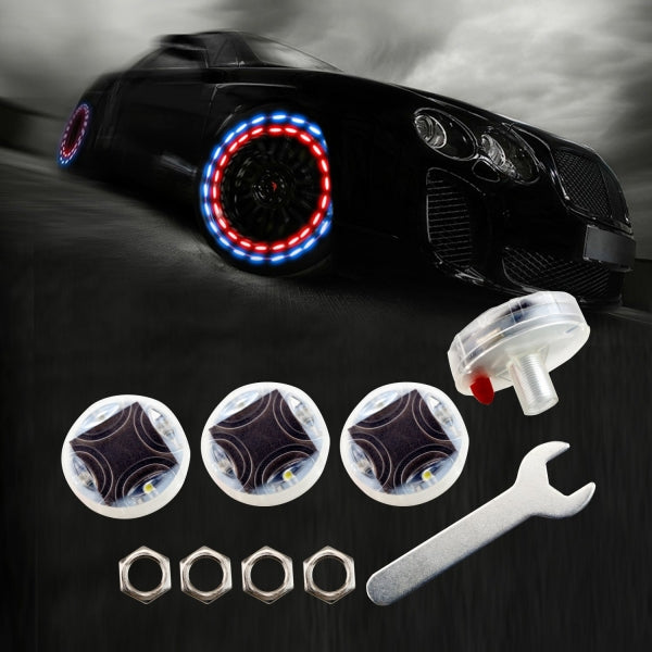 4PCs Waterproof Solar Power Motion Sensors Flashing Colorful LED Car Tire Wheel Lights Gas Nozzle Cap Lights for Car Motorcycles Bicycles