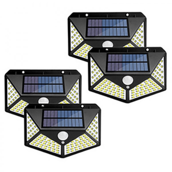 4pcs 1200mAh 100 LED Highlight Solar Light 4 sides Powered Waterproof Lamp PIR Sensor Outdoor Light
